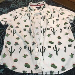 Forever 21 Men's Cactus Short Sleeve Button Down